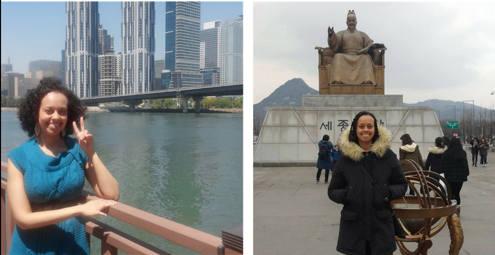 Image of Rachelle at the statue of King Sejong