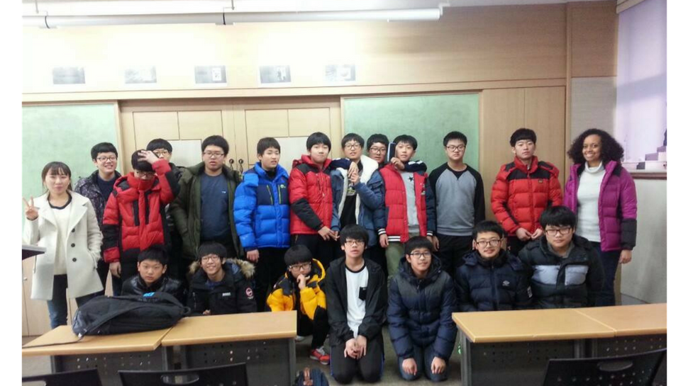 Celebrating the last day of winter camp at the all boys school in Korea.