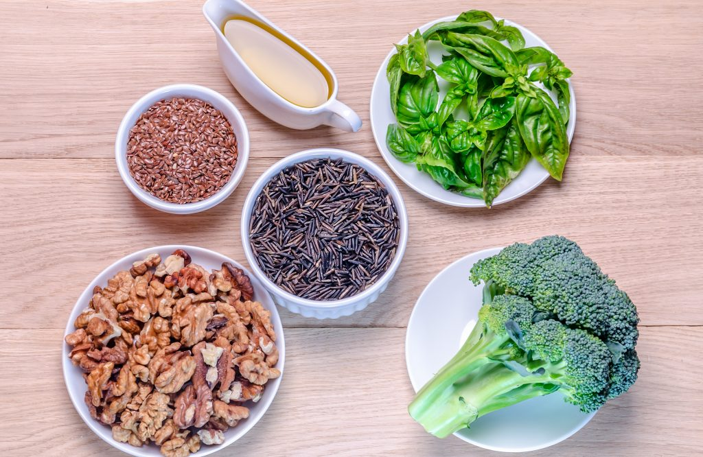 Plant-based sources of Omega-3 acids (nuts, healthy oils, legumes, leafy greens).